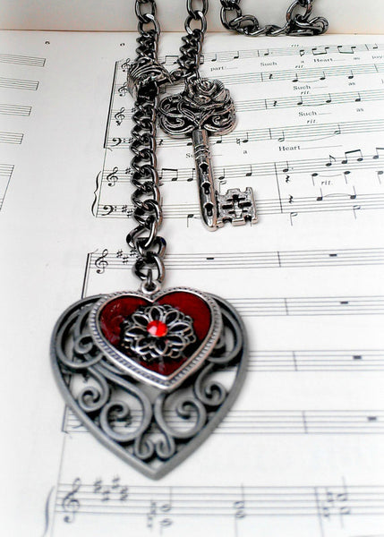 Heart Key Necklace - Long Chain