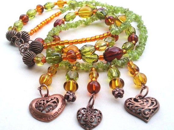 Copper Heart Beaded Necklace - Green