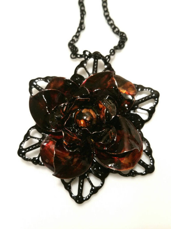 Hand Dyed Recycled Flower - Deep Brown