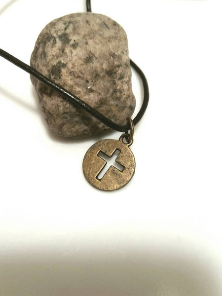 Brass Cross Necklace - Leather Cord