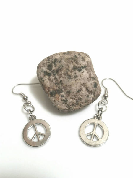 Peace Sign Earrings - Silver