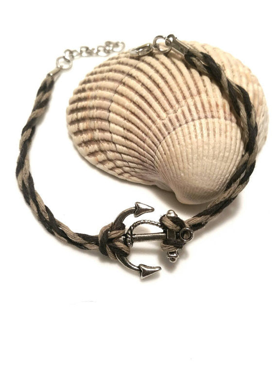 Anchor Cord Bracelet - Mens