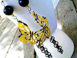 Yellow Rockstar Dangle Butterfly Earrings