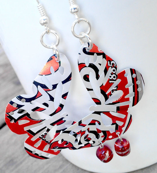 Dr Pepper Upcycled Soda Can Butterfly Earrings