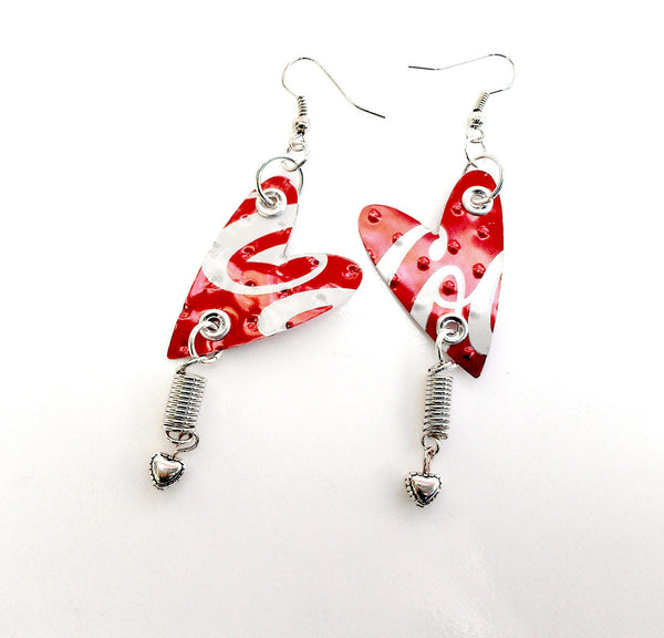 Recycled Coca Cola Spiral Heart Earrings