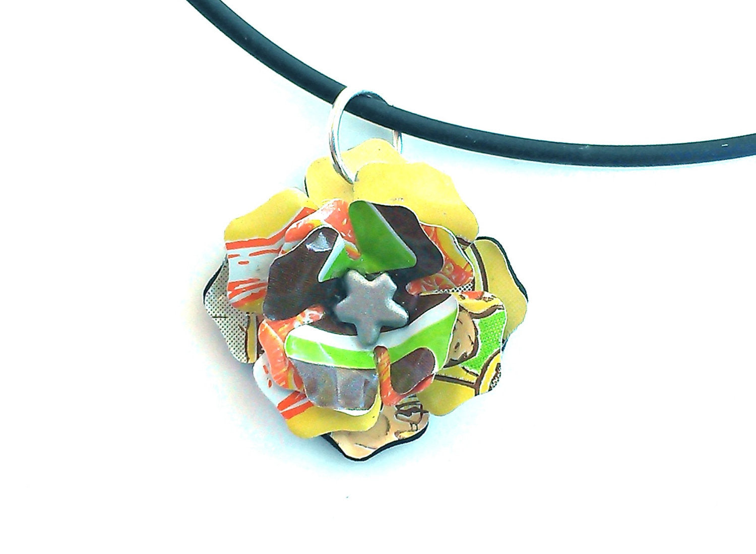 Peace Tea Aluminum Can Flower Necklace