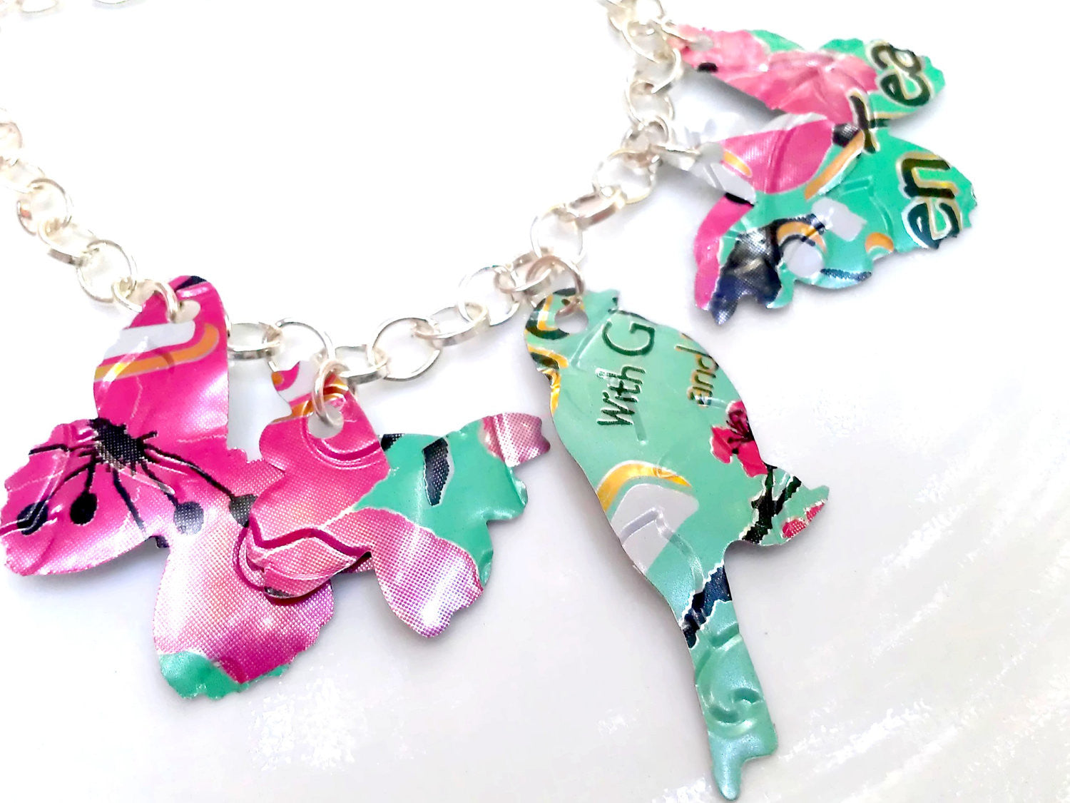 Birds and Butterfly Arizona Tea Necklace