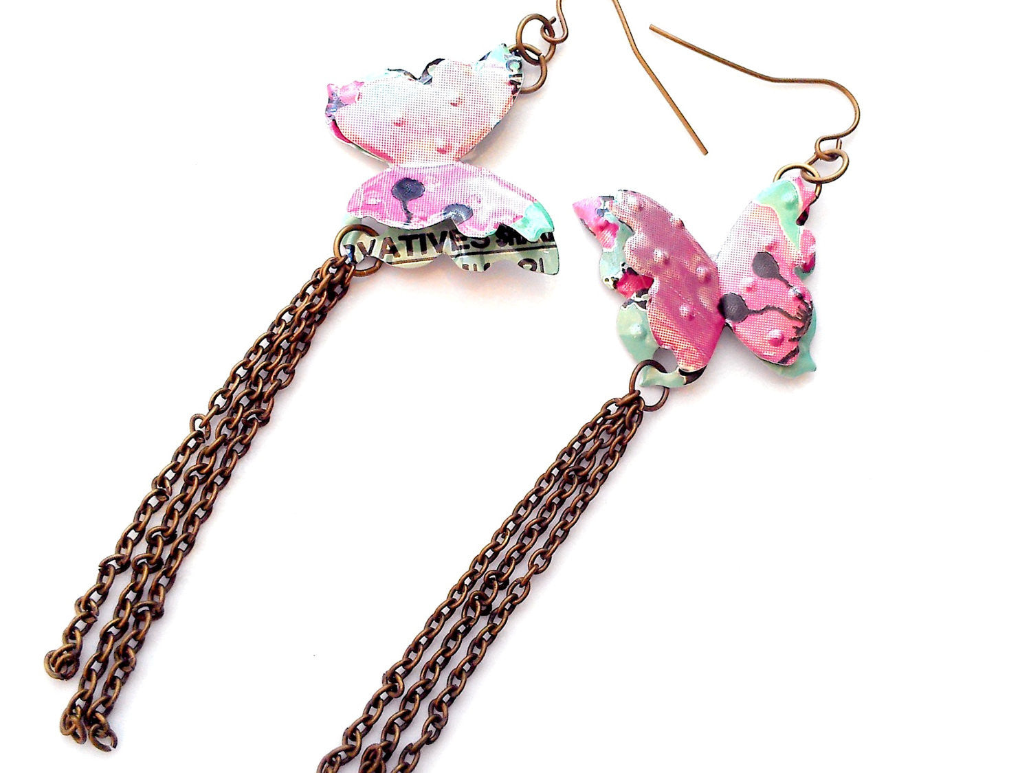 Arizona Tea Butterfly Dangle Chain Earrings