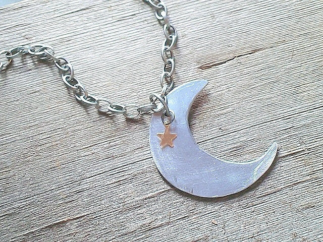 Reclaimed Metal Crescent Moon Necklace
