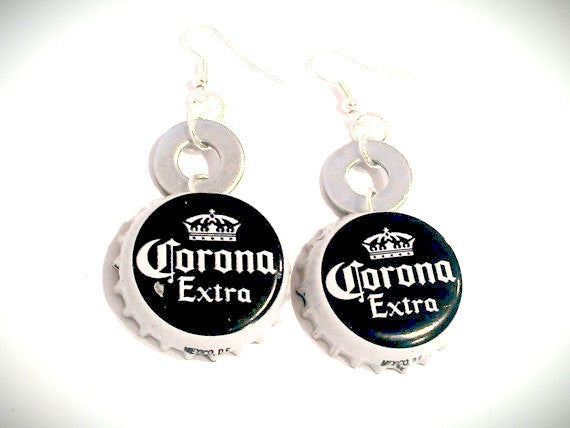 Corona Bottle Cap Earrings