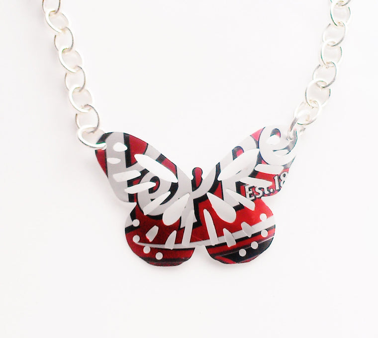 Dr. Pepper Butterfly Necklace