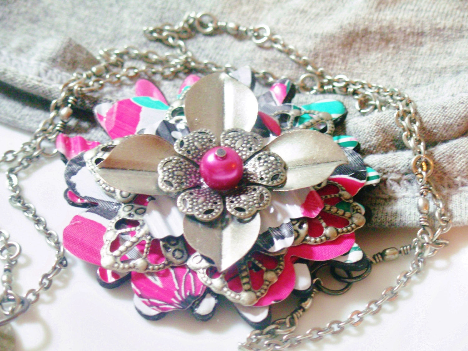 Arizona Tea Large Flower Pendant Necklace - Recycled