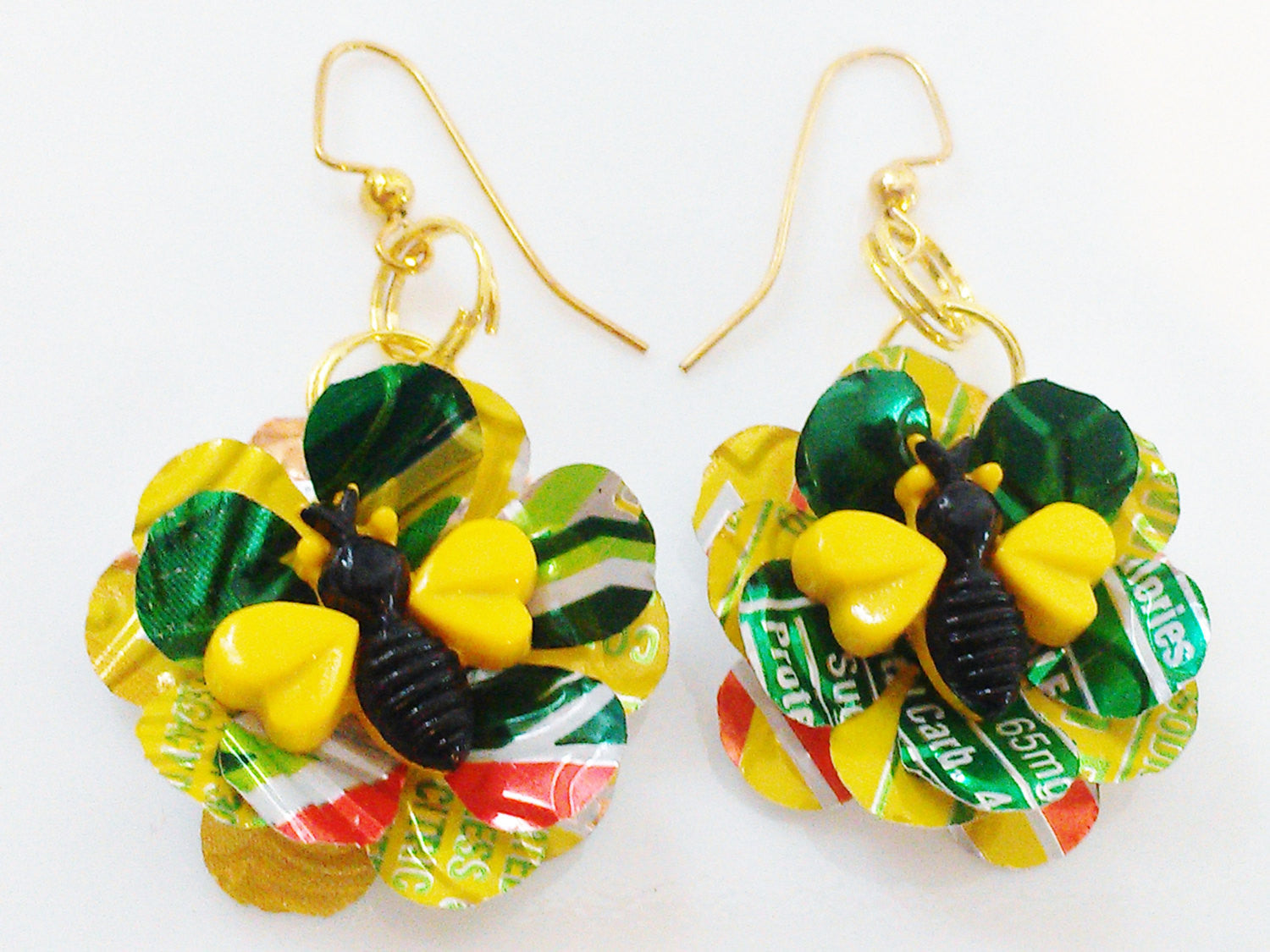 Animal Recycled Flower Earrings