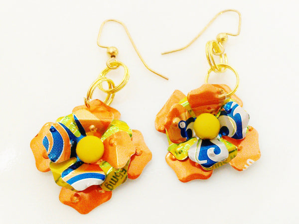 Recycled Sunkist Flower Earrings