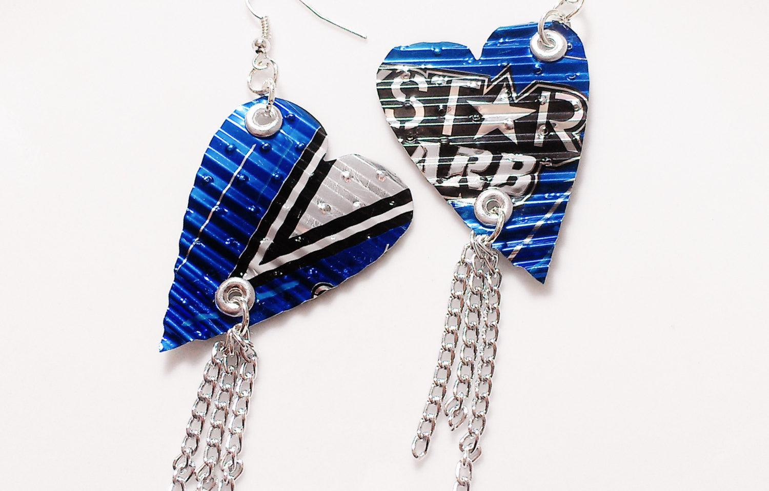 Aluminum Can Heart and Chain Earrings
