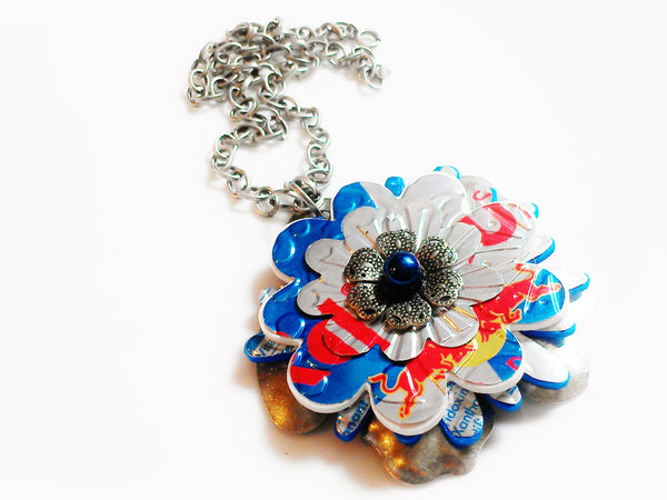 Red Bull Blue - Flower Statement Necklace