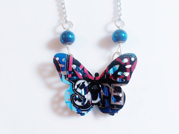 Blue Rockstar Energy 3D Butterfly Necklace