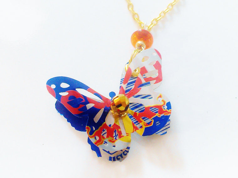 Red Bull 3D Butterfly Necklace
