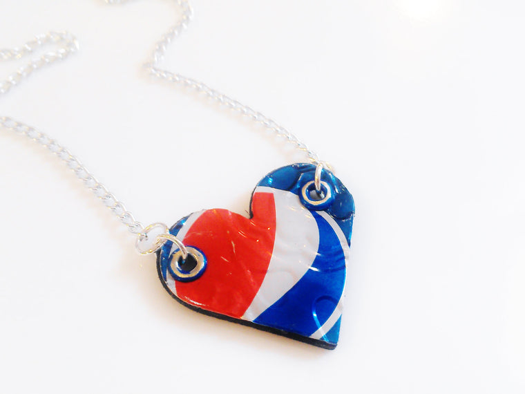 Aluminum Pepsi Heart Necklace