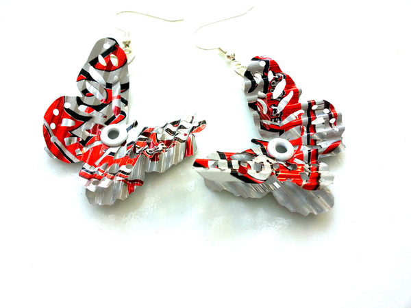 Dr. Pepper Crinkle 3D Butterfly Earrings