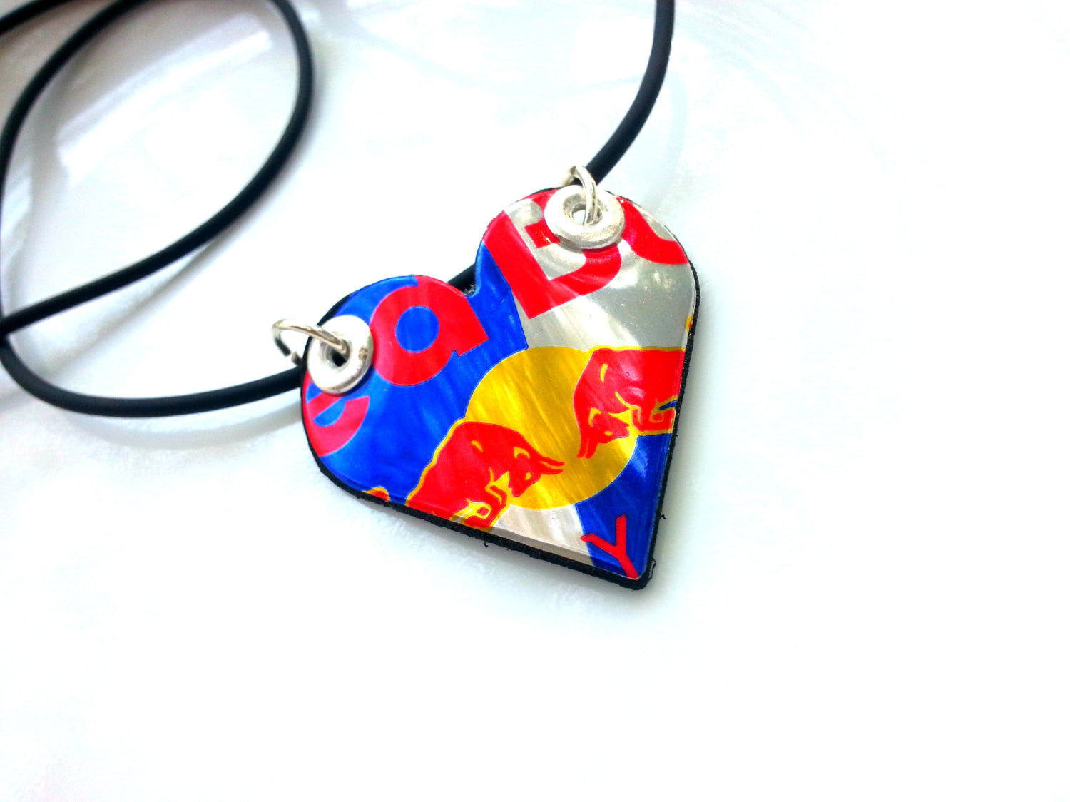 Red Bull Aluminum Heart Necklace