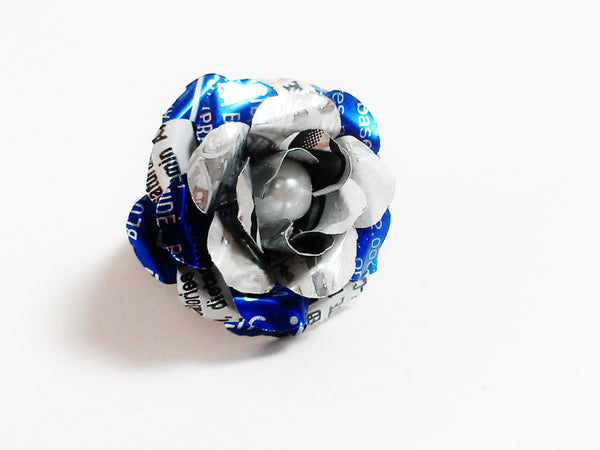 Rockstar Flower and Faux Pearl Ring