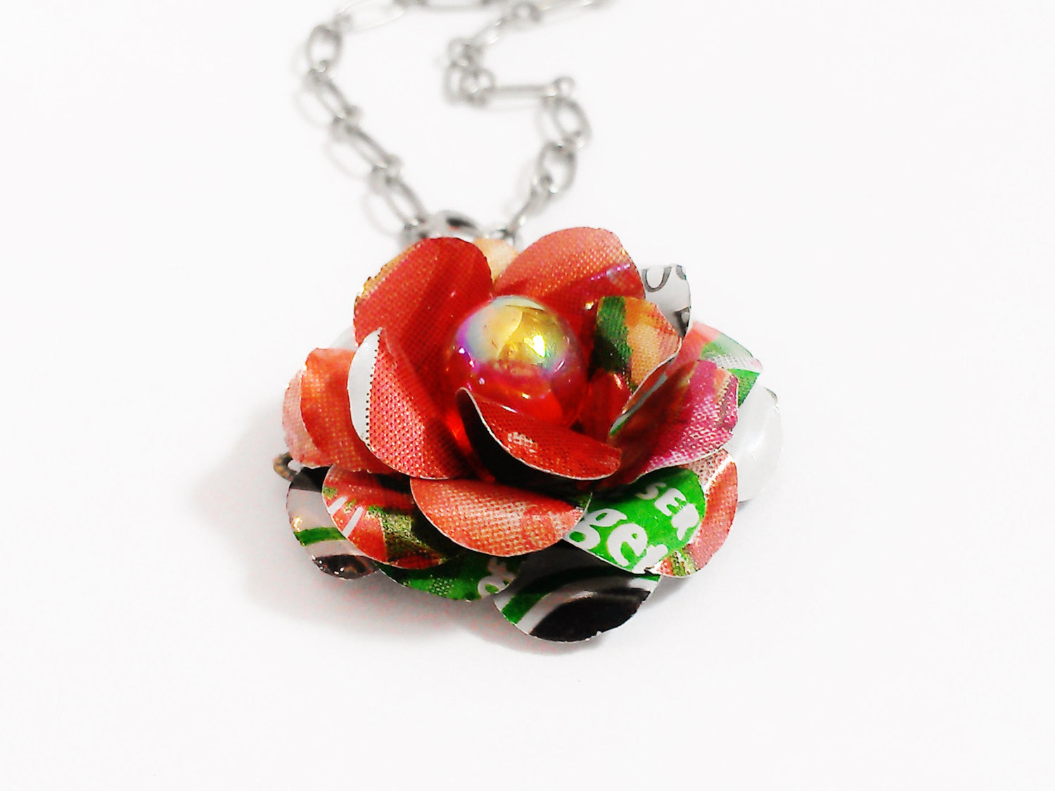 V8 Aluminum Flower Necklace