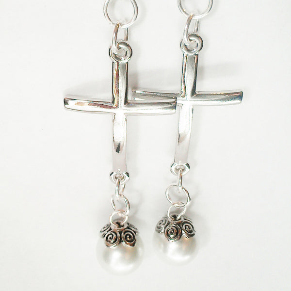 Large Cross Earrings - White Bead