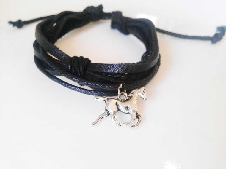 Black Leather Horse Bracelet