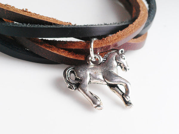 Braided Leather Horse Bracelet