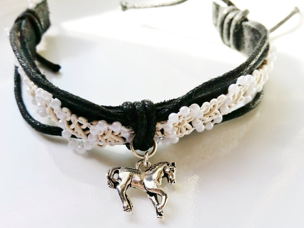 Leather and Lace Horse Bracelet