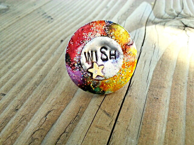Wish with Sparkles - Large Upcycled Washer Ring