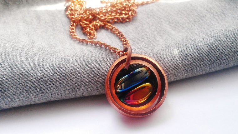 Upcycled Copper Iridescent Necklace