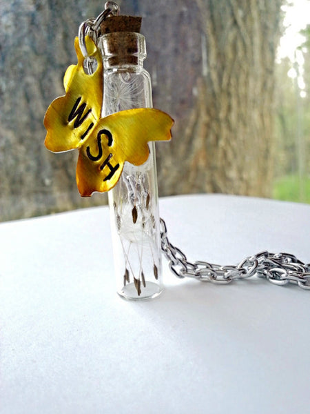 """Wish"" Butterfly Dandelion Necklace"