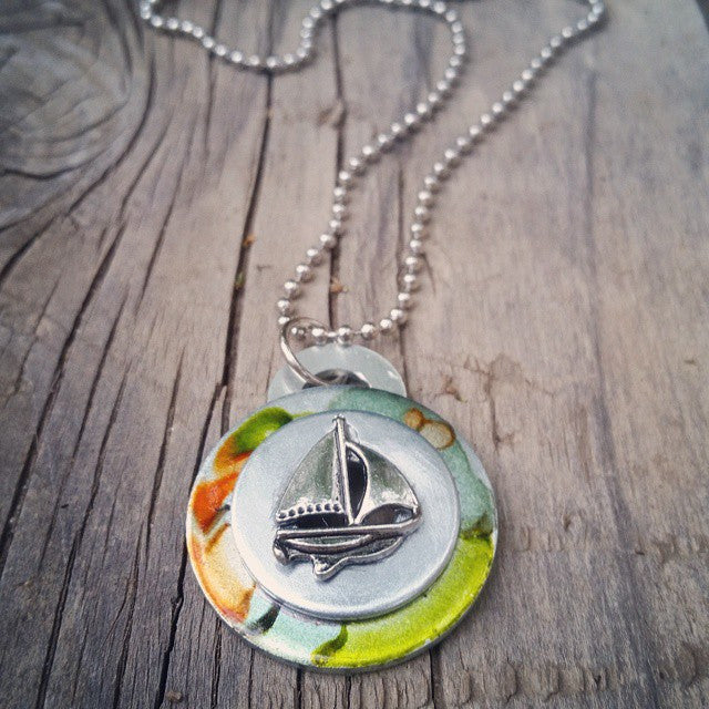 Sailboat Necklace - Upcycled Nautical Jewelry