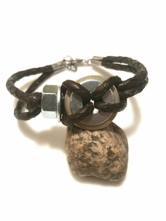 Men's Upcycled Washer Leather Bracelet