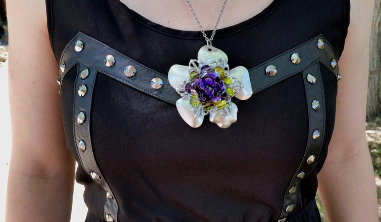 Purple Meets Metal - Upcycled Flower Necklace