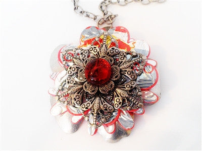 Red Bull Filigree - Pendant Necklace