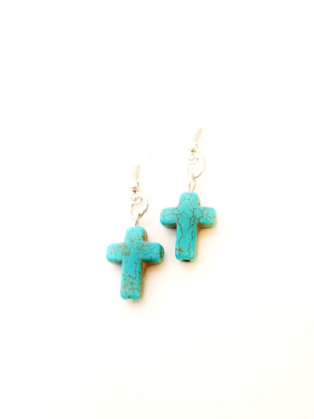 Small Turquoise Cross Earrings