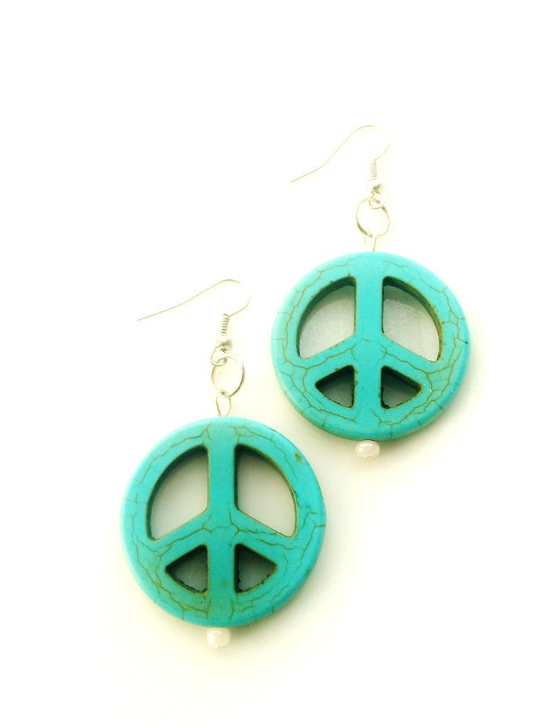 Peace Sign Earrings - Large Turquoise Howlite