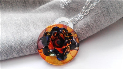 Hand Dyed Washer and Flower Necklace