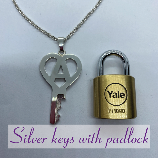 Silver chastity keys with padlock
