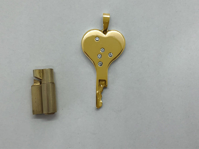 chastity-shop 14 carat yellow gold Lock of Love with cylinder