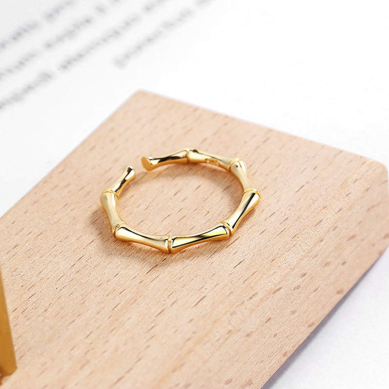 14K Dainty Gold Bamboo Ring, EB90 Rings Elk & Bloom