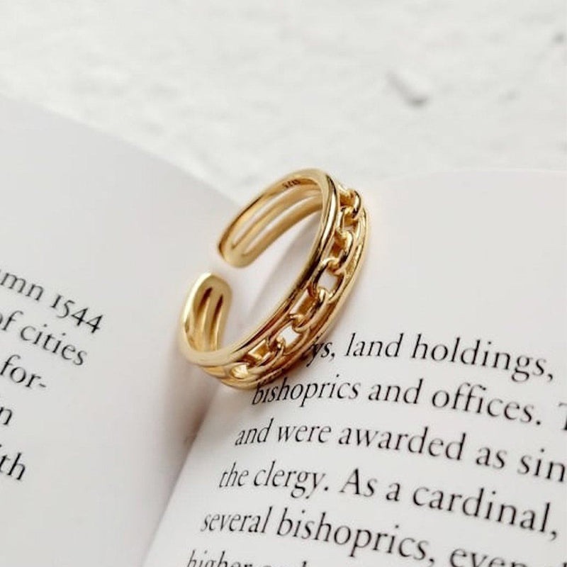 14K Gold Chain Link Ring, EB88 Rings i_did