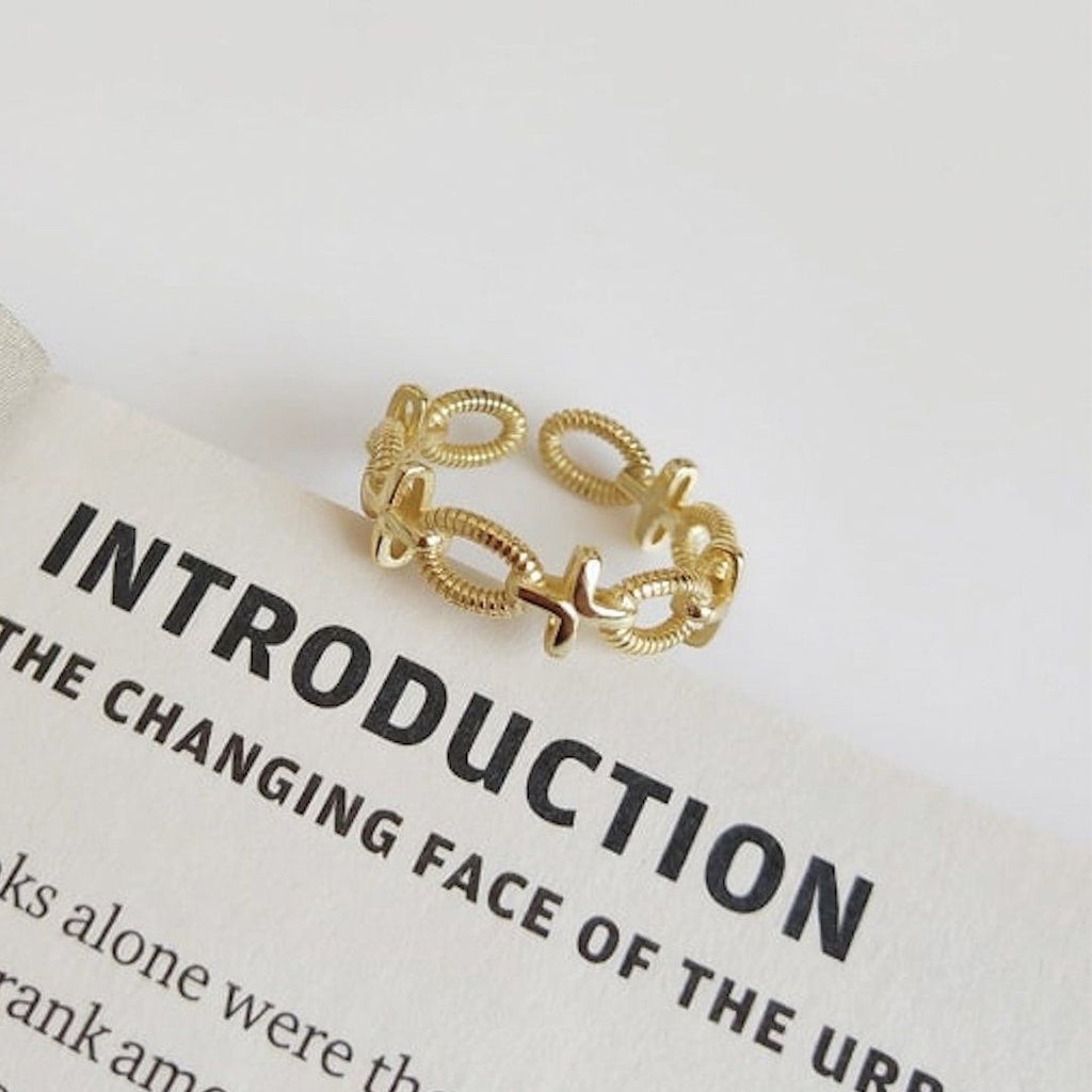 14K Gold Chain Link Ring Set, EB43/44/45 Rings i_did Style 3