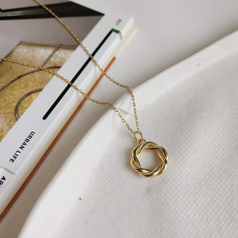 14K Gold Circle Necklace for Women, EB18 Necklaces i_did Full necklace