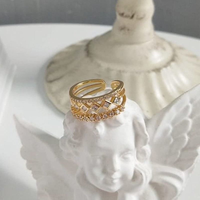 14K Gold Dainty Triple Band Ring Set, EB55 Rings i_did
