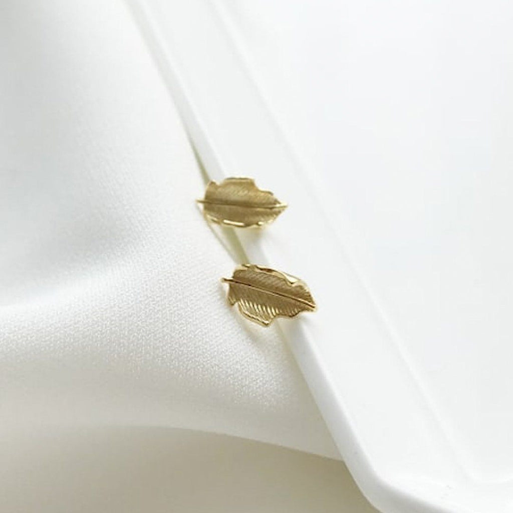 14K Gold Leaf Stud Earrings, EB78 Earrings i_did Two studs (2 ears)
