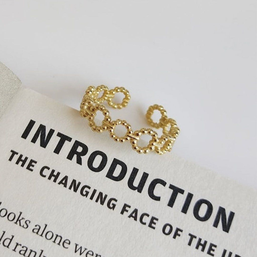 14K Gold Plated Silver Loop Link Stacking Ring Rings i_did
